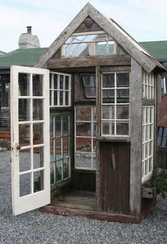 greenhouse with recycled windows.  Love it! I want one!