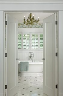bathroom shutters   Cottage Company - Harbor Springs