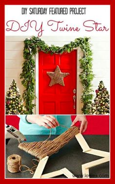 #DIY Twine Stars for #christmas themed door or wall area