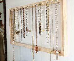 Use a frame to make a Necklace Organizer