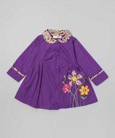 This Dark Purple Daisy Coat - Toddler & Girls by Maria Elena is perfect! #zulilyfinds
