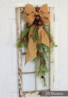 Two Fun Christmas Decorated Door Swags
