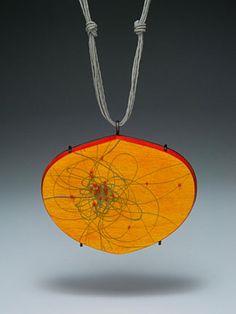 Julia V. Turner:  Orange Routes Pendant,  wood, vitreous enamel, steel, string