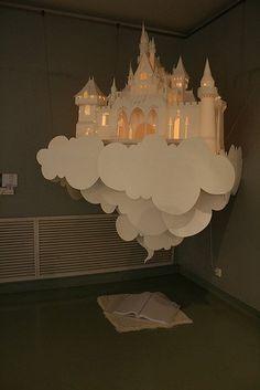 child room, little girls, dream, paper lamps, castles