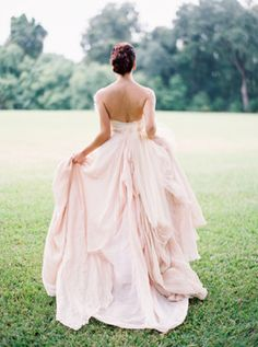 blush pink #wedding #dress. This is so cute and unique!