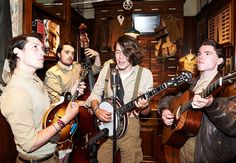 Cornwall-based Bluegrass band 'Flats & Sharps' accompanied the event in London's Mount Street store on Monday in alignment with Double RL's American heritage