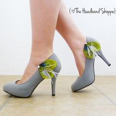 Peacock Shoe Clips - OLIVIA - Lime Green, Grey and Turquoise Peacock Feather Shoe Clips
