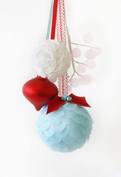 A Field Journal: I'll Have a Blue & Red Christmas :: <3 the shape of that red ornament : D  DIY ideas as well.