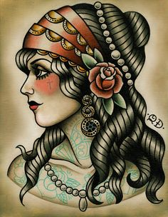 Gypsy tattoo, Vintage Sailor navy style, head scarf,long curly hair flash. Pretty tattooed lady by Quyen Dinh