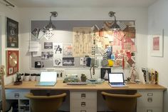his & hers desk space #office