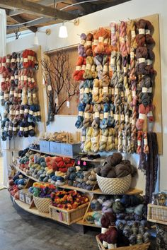 a verb for keeping warm, yarn store display, knit store, craft, heaven, crochet, store fronts, yarn shop, place