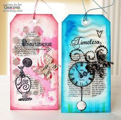 Mixed Media Tags using Izink with Meihsia Liu