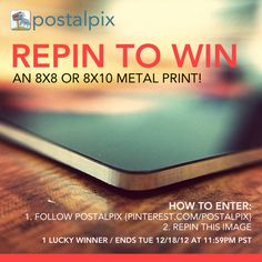 HOW TO ENTER:  1. Follow PostalPix on Pinterest  2. Repin THIS image    1 Lucky Winner / Ends 12/18/12 at 11:59PM PST