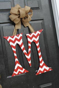 Chevron 24 inch Initial Letter Door . doors, bedroom decor, inch initi, letter door, chevron 24, burlap bows, wooden letters, initi letter, 24 inch