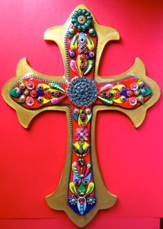 Mexican Style Cross of many colors Decorative Wall Cross Red Vintage Victorian fleur de lis by iluvPiC