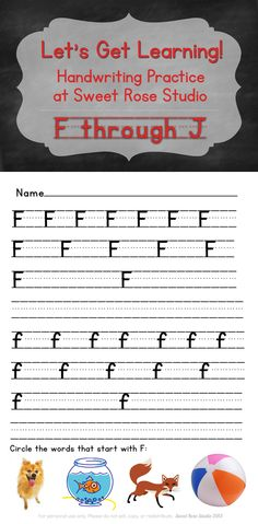 The second set of free Handwriting Pages at Sweet Rose Studio is up and ready for downloading! #printables #learning #preK #Kindergarten