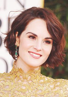 peopl, michelle dockery, color, makeup, hair curl, michell dockeri, beauti, short bobs, globe