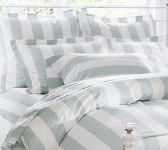 PB Classic Stripe 400-Thread-Count Duvet Cover & Sham - Porcelain Blue
