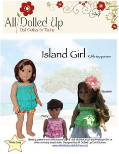 """Cute summer top pattern for your American Girl Doll or similar 18"""" dolls."""