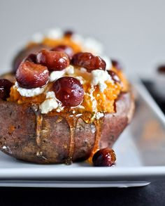 Roasted grape, goat cheese and honey stuffed sweet potatoes.