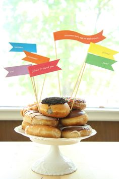 Free Printable: donut tower flags