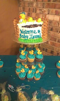 Duck Themed Baby Shower cake and cupcakes!