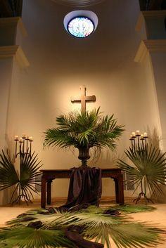 easter, branch display, altar idea, faith, beauti palm, decorating ideas, church deco, palm sunday, palm branch