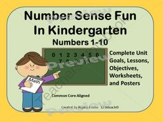 Number Sense Fun 1-10 Unit Common Core Aligned from 123kteach on TeachersNotebook.com - - This is perfect for the beginning of the school year as you teach number sense to your students. This unit includes 40 worksheets along with goals, lessons, posters and Common Core Standards