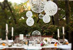 String ball chandelier.
