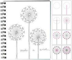 zentangl, draw, art journal, craft, idea, dandelion, how to doodle art, art projects, kid