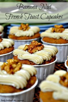 Banana Nut French Toast Cupcakes -  This cupcake offers a nice banana bread flavor with a slight touch of maple, topped with a delicious maple cream cheese frosting and a candied walnut.  The flavors of breakfast that can be enjoyed anytime!  The perfect BRUNCH cupcake.