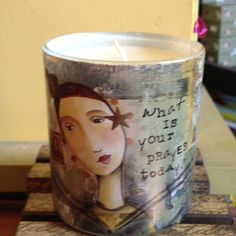 What is your prayer today? Lovely candle. $15.00 at Sundog Books.