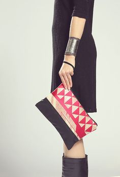 The Belinda Clutch ///// Neon Tribal Clutch. Black by gracedesign