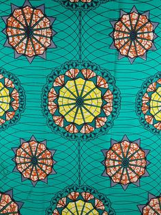 mandalas in a green African fabric