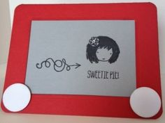 Handmade Etch-a-Sketch card using the Sweetie Pie and Sweetie Pie Stamp Sets from Stampin' Up!  A great retro/vintage adult or children's style card.