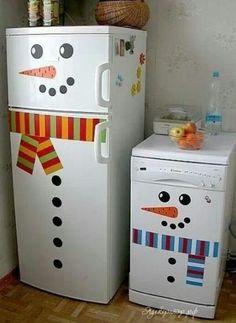 Love these snowman fridges!