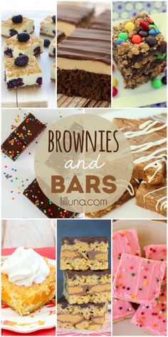 A collection of delicious brownies and bars recipes! They all look delicious!! { lilluna.com }