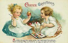 easter greet, postcards, vintag postcard, easter card, vintage, vintag easter, egg easter, greeting cards, easter postcard