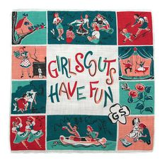 Vintage Girl Scouts Have Fun handkerchief. Comes in three different color combos.