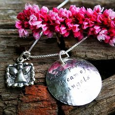 Some People Dream of Angels, I Held One In My Arms... Baby Loss Pendant $68.00. Hand crafted from sterling silver, and baby's name can be added inside. #miscarriage #babyloss #jewelry #miscarriagejewelry #memorial #pregnancyloss #gift