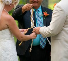 """God's knot. """"And if one prevail against him, two shall withstand him; and a three-fold cord is not quickly broken."""" (Ecclesiastes 4:10) The couple will braid three different colored strands together to symbolize the unity of God, husband, and wife."""