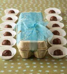 truffles in egg carton! I make truffles a couple of times a year, never thought to wrap them like this.  Very cleaver.