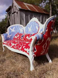 refurbished vintage victorian settee/couch in red, white, and, blue americana fabrics