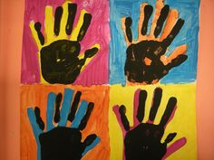 "Pop art! ""Handprints"" by ""2nd grader"" inspired by pop artist, Andy Warhol."