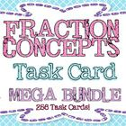 HUGE Set of 256 Fraction Concepts Task Cards!  Perfect for centers, warm up, daily math, SCOOT, cooperative learning structures, etc.  If you bough...