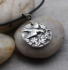 Fine Silver Bird Pendant Necklace from metal clay