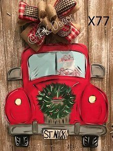 X77 - Santa Clause Truck Door hanger - Christmas Truck Decor - Christmas Door Hanger - Christmas Wreath Sign
