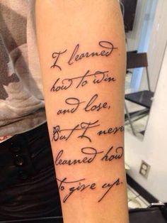 Beautiful script tattoo