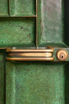 Enameled/Brass door at cranbrook art museum & library by Eliel Saarinen