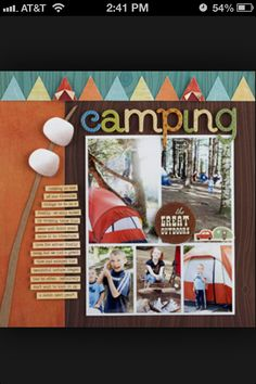 Camping scrapbook page upside down flags for tents